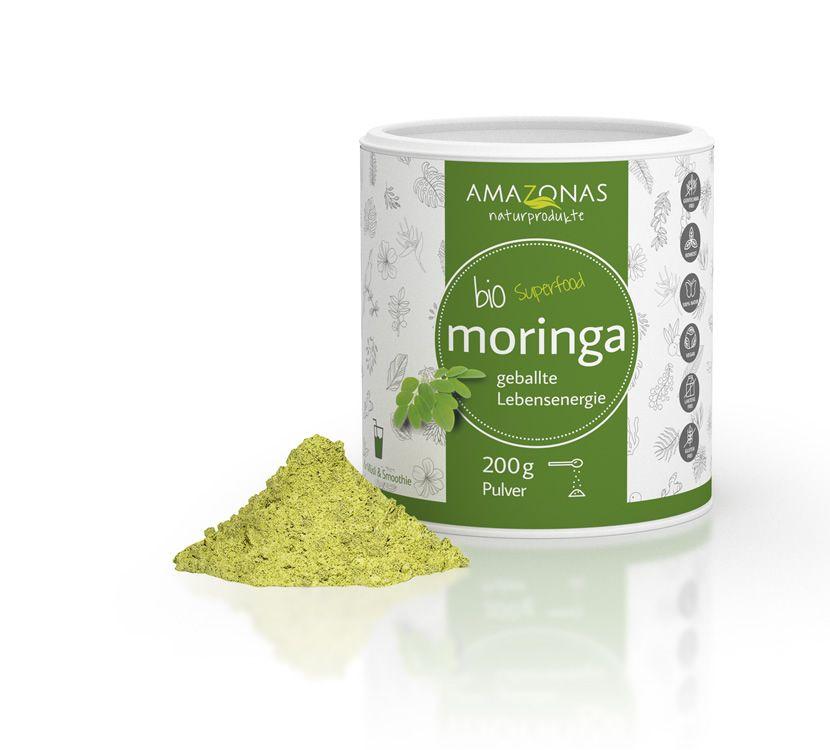 AMAZONAS BIO Moringa Blattpulver, Zutaten: 100% pures Bio Moringa Blattpulver